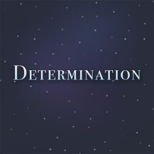 The word Determination on a blue starry background